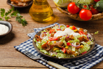 Gyros, kebeb. Salad with mutton and vegetables.