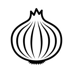 Bulb onion or common onion vegetable line art vector icon for food apps and websites