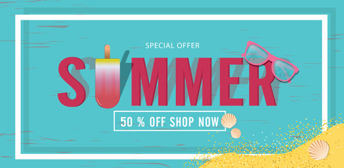 Summer sale beautiful web banner. Top view on seashells, sunglasses, fresh cocktail, smartphone and sea sand on wooden texture. Vector illustration with special discount offer.