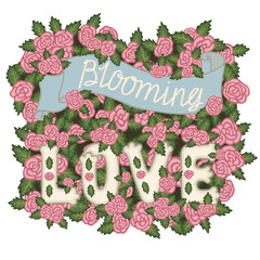 Blooming love. Romantic vintage illustration. Hand lettering on a pink roses background