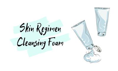 skin regimen Cleansing Foam, sketch of cosmetics
