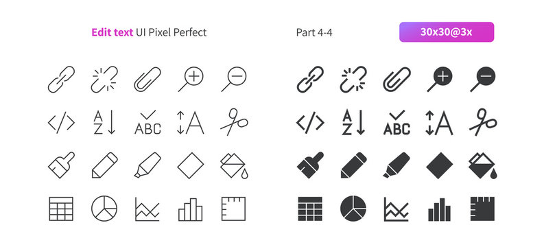 Edit text UI Pixel Perfect Well-crafted Vector Thin Line And Solid Icons 30 3x Grid for Web Graphics and Apps. Simple Minimal Pictogram Part 4-4