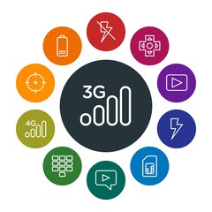 mobile, video, photos, cursors Infographic Colorful outline Icons Set. Contains such Icons as  white,  flash,  3g,  off,  game,  arrow,  equipment,  web,  goal and more. Fully Editable. Pixel Perfect