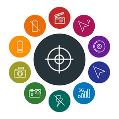 mobile, video, photos, cursors Infographic Colorful outline Icons Set. Contains such Icons as  disk,  3g,  charge,  compact, information,  goal,  no,  video and more. Fully Editable. Pixel Perfect