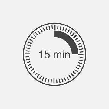 Clock icon indicating the time interval of 15 minutes. Fifteen minutes time on the clock