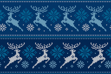 Winter Holiday Seamless Knitting Pattern with Christmas Reindeer and Snowflakes. Wool Knitted Sweater Design