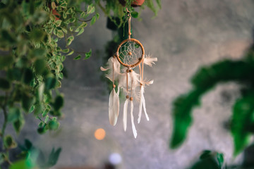 Dream Catcher Blue Coral with Concrete wall background in vintage style. Native american dream catcher. boho chic, ethnic amulet.