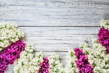 green on a wooden background