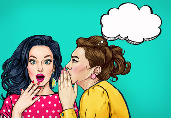 Pop art women gossip with thought bubble. Advertising poster or disco flayer design of female conversation. Two beautiful girls talking about you. Wall mural