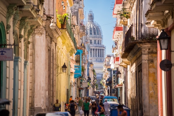 Aluminium Prints Havana Havana, Cuba, El Capitolio seen from a narrow street