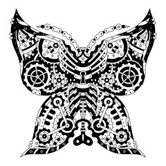 Steampunk Mechanical black and white butterfly on white. Design elements label, emblem, poster, t-shirt. Vector illustration