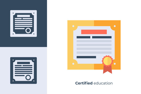 Vector icon of graduation diploma in flat style.