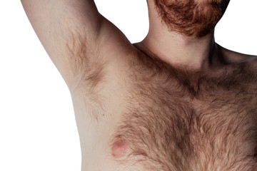 Hairy armpit and chest of a man (Isolate)
