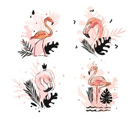 Hand drawn vector abstract graphic freehand textured sketch pink flamingo and tropical palm leaves drawing illustration collection set with modern decoration elements isolated on white background