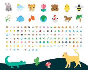 All type of nature, animals, wild world, life, plants, flora, fauna, zoo, weather, planet symbols, emojis, emoticons, stickers, flat vector illustrations, icons, cartoon, characters set, collection