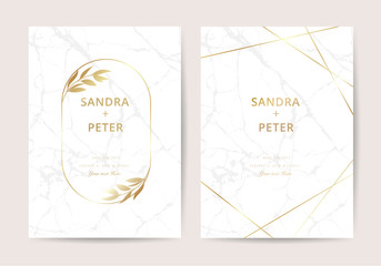 Luxury wedding invitation cards with gold marble and floral decoration texture geometric pattern vector design template