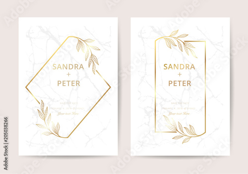 Luxury Wedding Invitation Cards With Gold Marble And Floral