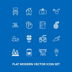 Modern, simple vector icon set on blue background with post, business, jazz, letter, container, mail, architecture, travel, tin, house, button, interior, sea, musical, arrow, comfortable, forest icons