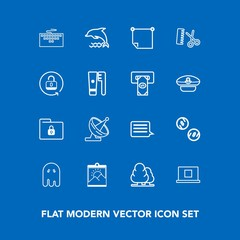 Modern, simple vector icon set on blue background with animal, web, office, landscape, horror, tree, profile, satellite, safety, antenna, security, halloween, scary, computer, hair, paper, lock icons