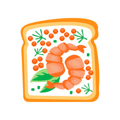 Sandwich with shrimps, red caviar and leaves of basil. Delicious toasted bread. Fast food theme. Flat vector design