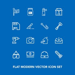 Modern, simple vector icon set on blue background with nation, drill, work, bank, nature, container, danger, explosion, camera, hand, hat, aluminum, bomb, fashion, sign, home, money, america icons