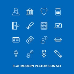 Modern, simple vector icon set on blue background with domino, bat, sweet, name, tourism, food, baseball, burger, web, nature, bellhop, clock, row, id, greek, wood, business, girl, uniform, game icons