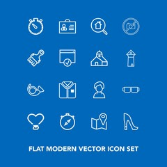 Modern, simple vector icon set on blue background with shirt, heart, direction, woman, timer, travel, shoe, style, female, fashion, watch, pin, love, person, human, map, tshirt, paint, jazz, sun icons