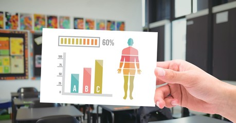 Human Body Chart statistics and hand holding education card in