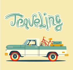 Vector modern retro car. Tourism design.Travel by car. Retro travel car on yellow background in flat style