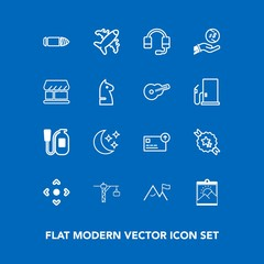 Modern, simple vector icon set on blue background with fire, gun, picture, web, night, arrow, business, construction, weapon, moon, blank, saw, dollar, currency, bullet, element, flight, button icons