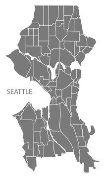 Seattle Washington city map with neighborhoods grey illustration silhouette shape