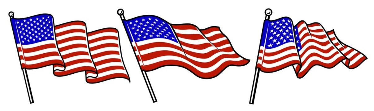 Set of waving USA flags.