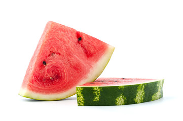 Ripe watermelon on a white background. Isolated..