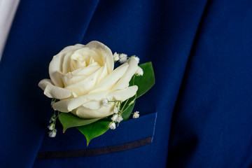 boutonniere rose on the bridegroom's jacket