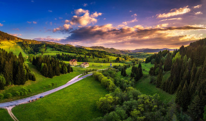 Wall Mural - Countryside around the village of Telgart in Slovakia at sunset