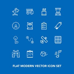 Modern, simple vector icon set on blue background with music, lock, position, vehicle, bank, lamp, point, box, metal, plane, travel, shipping, atv, dirt, extreme, key, blank, home, safe, finance icons