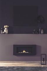 Fireplace in dark living room