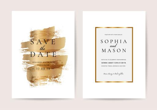 Luxury wedding invitation cards with Golden texture minimal vector design template