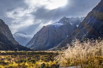 Fiordland national park stormy landscape, New Zealand