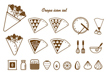 Crepe illustration icon set