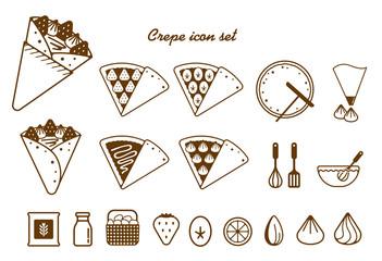 Crepe illustration icon set