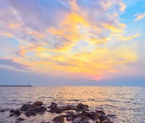 Seascape after sunset.