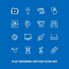 Modern, simple vector icon set on blue background with rocket, hour, help, monitor, business, science, trumpet, map, photographer, screen, helicopter, photography, time, call, timer, tree, eye icons