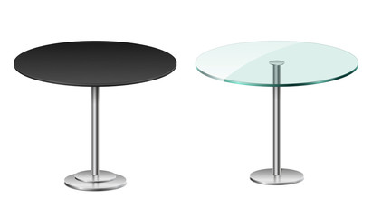 Empty modern black round table isolated on white. Vector glass table with metal stand template for restaurant or cafe interior. vector Illustration