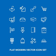 Modern, simple vector icon set on blue background with notebook, key, picture, flag, beacon, frame, book, flight, bag, morning, sink, blossom, style, travel, nation, spring, flower, aircraft, up icons
