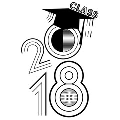 Simple retro style illustration of Class of 2018 in black on an isolated white background