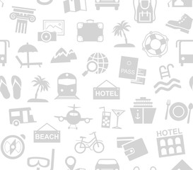 Travel, vacation, tourism, recreation, seamless pattern, monochrome, white, vector. Different types of recreation and ways to travel. Gray pictures on a white field. Vector, monochrome background.