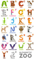 Zoo alphabet. Animal alphabet. Letters from A to Z. Cartoon cute animals isolated on white background