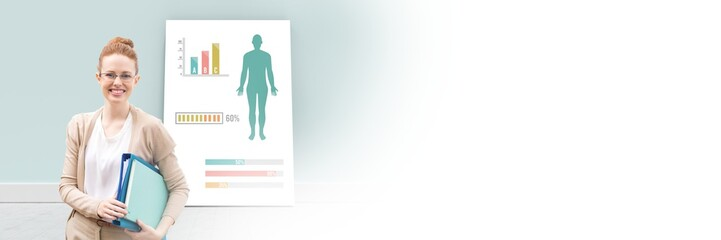 Educational Human Body Chart on card with teacher and blank