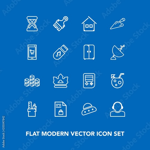 modern simple vector icon set on blue background with office work